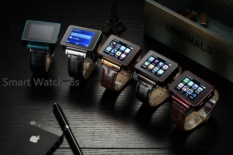 For Adults Children 2G Network Quadband I8S WiFi Smart Watch Phone Metal Case Leather Strap 2MP