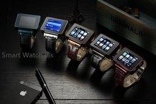 Para Adultos e Crianças 2g Rede I8S Quadband WiFi Telefone Esperto Relógio do Metal Case & Pulseira de Couro 2MP Webcam FM cartão SIM Smartwatch