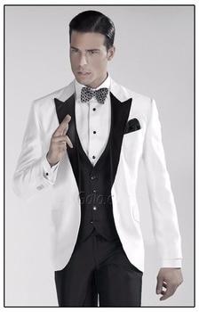 Black Lapel White Jacket Men's Wedding Suits Slim Fit Groom Tuxedo Best Men Suit Prom Custom Made Bespoke Suits A069