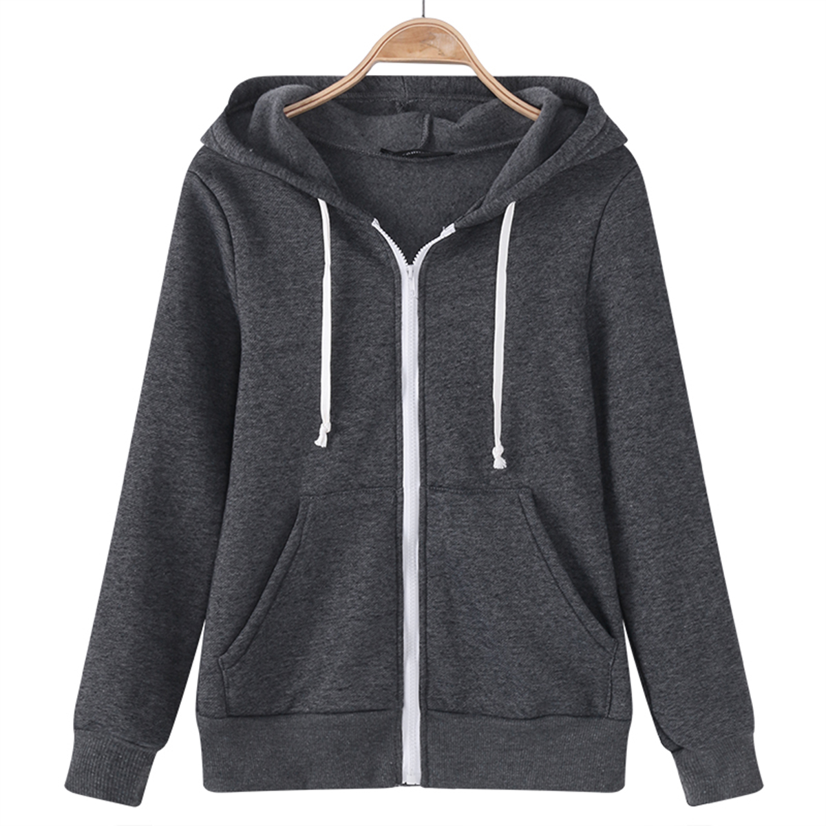 Plus Size 5XL Women Hoodies Sweatshirt Casual Streewear Long Sleeve Solid Sweatshirts Loose Hooded Zipper Warm Hoodies Overcoat