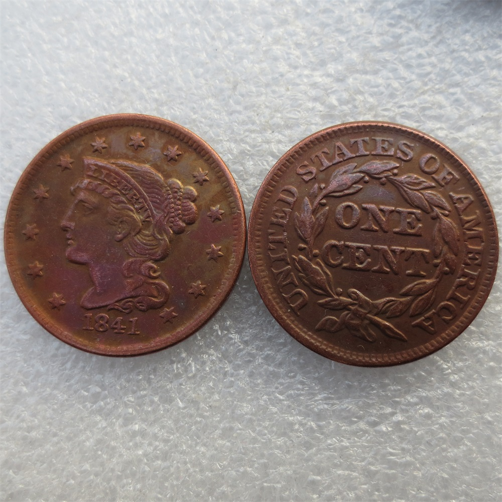 1841 Braided Hair Large / One Cent 100% Copper Manufacturing Old Copy Coins Free Shipping