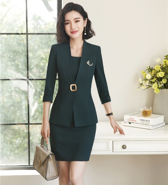 Ladies Dress Suits For Women Business Suits Green Blazer And Jacket