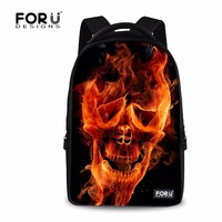 FORUDESIGNS Large Laptop Backpack For Men Women Casual Cool Skull Printing School Computer Backpack Teenage Student