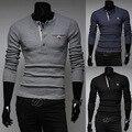 2014 nova primavera cor sólida casuais clássico O - neck Slim fit dos homens blusas roupas moda Cardigan M-XXL