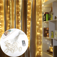 Yijinsky 3M*3M LED Copper Wire Curtain Lights USB Wareproof for Christmas Wedding Holiday Outdoor Indoor Garden Decoracion