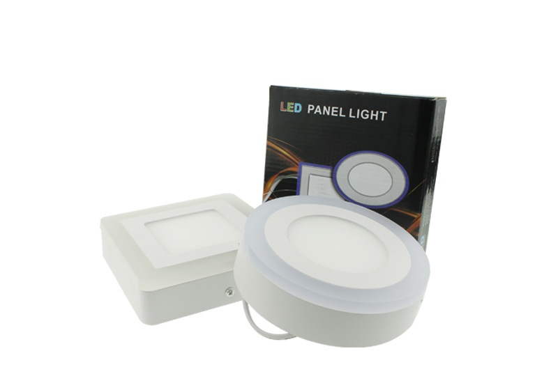 ФОТО LED double color light color round square section switch panel lights /3W6W12w18W