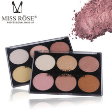 Miss Rose Highlight powder stereo V face base six colors highlight powder white concealer cheeks enhance profile beauty makeup miss rose 12 color high gloss white concealer cheeks strengthen profile shaping powder cake beauty makeup