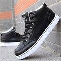 Homens Sapatos casuais Dos Homens de alta top sapatos de couro pu rendas up plataforma flats man sólidos inverno flat shoes zapatillas hombre XK072615