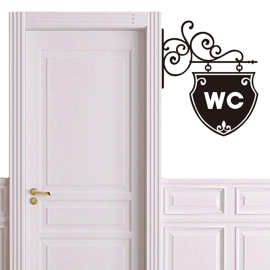 Vintage Wall Sticker Bathroom Decor Toilet Door Vinyl Decal Transfer Decals Art
