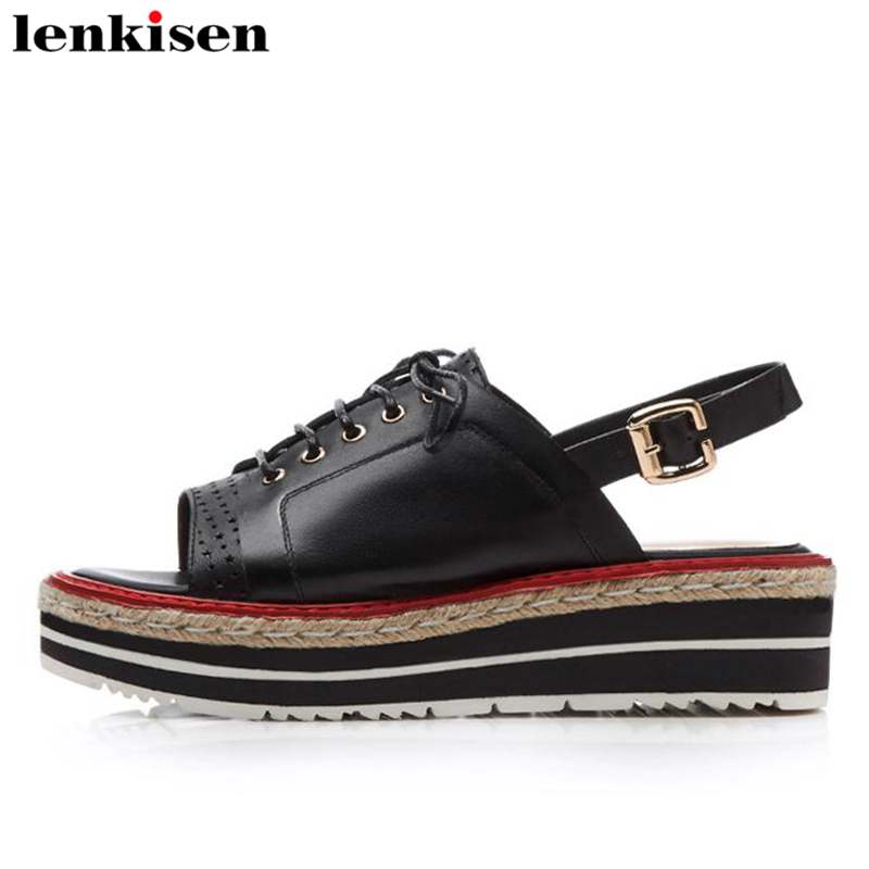 Lenkisen classic peep toe solid buckle straps cow leather causal shoes wedges young lady preppy style med heels women sandal L38
