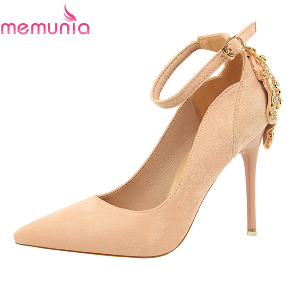 MEMUNIA female pumps women shoes high heels spring autumn flock pointed toe elegant new arrive comfortable wedding shoes siketu 2017 free shipping spring and autumn women shoes high heels shoes wedding shoes nightclub sex rhinestones pumps g148
