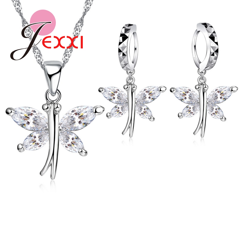 925 Sterling Silver CrystalButterfly Drop Earrings Collar Necklace Bride Wedding Anniversary Jewelry Sets