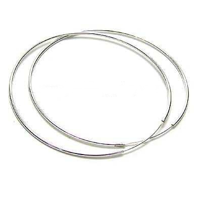 925 Sterling Silver Fashion Plain Hoop Earrings for Lady 65mm Dia free shipping