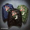 Autumn New Men's Flower Embroidered Baseball Jackets Fashion Youth Bomber Flight Jacket Japan Harajuku Retro Hipster Casual Coat