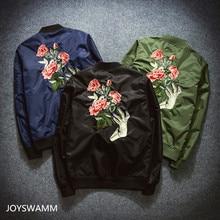Herbst Neue männer Blume Stickte Jacken Mode Jugend Bomber Fliegerjacke Japan Harajuku Retro Hipster Mantel Lässig