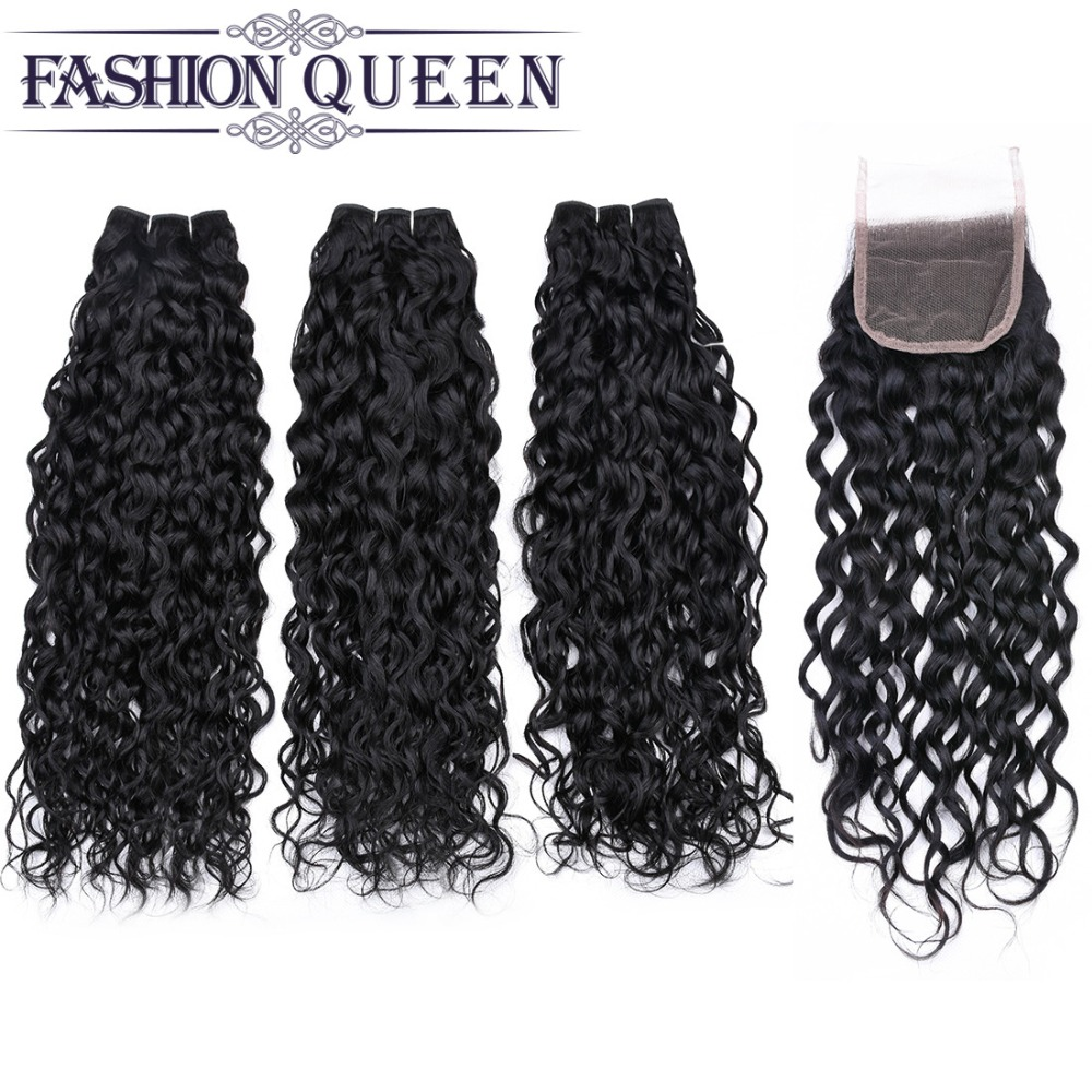 Brazilian Hair Weave Bundles With Closure 3 Bundle With Lace Closure Water Wave Human Hair Bundles