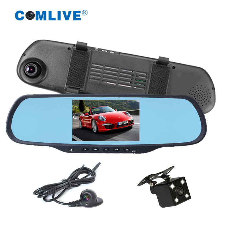 3 cameras bluetooth GPS navi rearview mirror dvr HD1080P dual cams recording car camera dvr Android 5 touch dash cam mirror dvr аксессуар lowepro 5 0 navi dash black