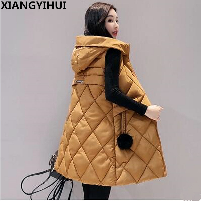 2017 Warme Winterjacke Frauen Ärmel Unten Baumwolle Mantel Langen Reißverschluss Frauen Weste Plus Größe Mode Weste Weibliche Parkas L-3xl