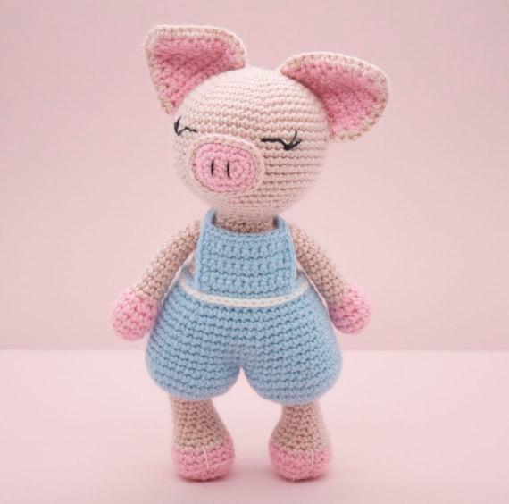 Amigurumi Häkeln Puppen Cute Little Pig In Blau Puppe Rattle In