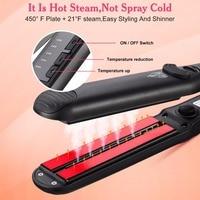 2017 Professional 450F Ceramic Vapor Steam Hair Straightener Steam Flat Iron Ceramic Vapor Fast Heating Iron