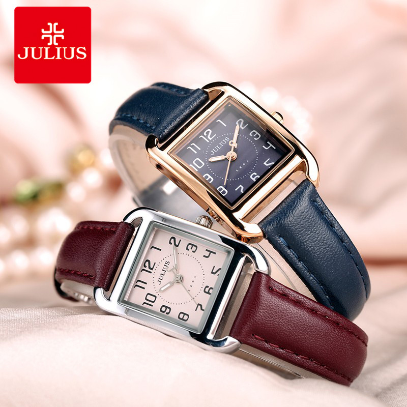 Brand Julius Casual Women Fashion Silver Rose Gold Rectangle Leather Strap Square Famous Design Popular Watch Luxury Uhr A1F1 popular brand watch women gold bracelet weave leather