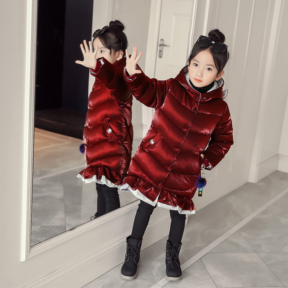 2018 New Fashion Girls Winter Jacket Coat Baby Children Kids Velvet Tops Long Snowsuit Down Cotton Pad Clothes Cute Hooded Coats new girls fashion vest autumn children clothing baby girls cotton printing animals tops vest kids clothes hooded coat jacket