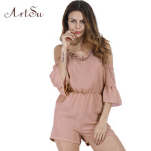 15fa42bdee1 ArtSu Summer rompers womens jumpsuit Sexy Off Shoulder Casual Short  Jumpsuits Plus Size Playsuit White Black Pink ASJU20100