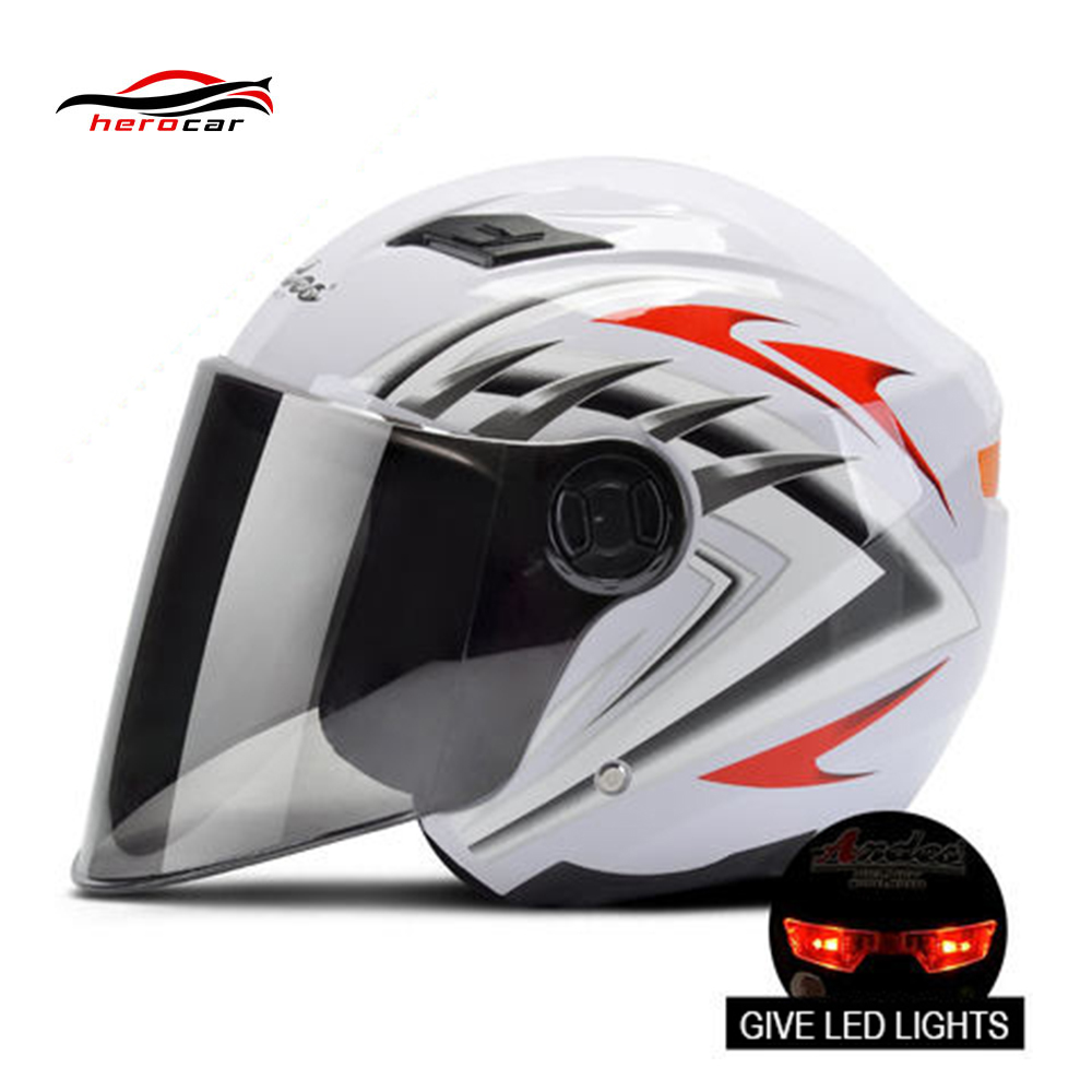 Motorcycle Helmet 3/4 Open Face Helmet Motorbike Casque Scooter Modular Flip Up Helmet With Lens LED Lights Casco Moto Capacete
