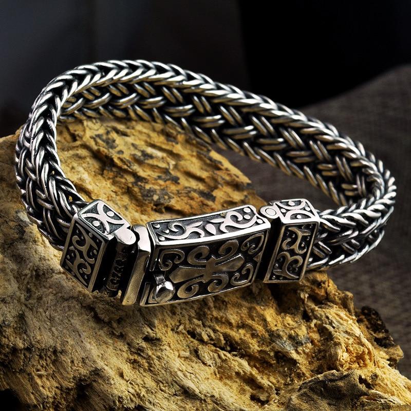 S925 Sterling Zilveren mannen en vrouwen Armband Breed 11mm Vintage Punk Rock Draad kabel Link Chain armband Thai Zilveren Sieraden-in Schakel & Link Armbanden van Sieraden & accessoires op  Groep 2