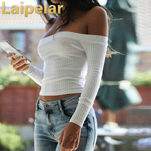 Laipelar Off Shoulder Sweater Crop Top Autumn White Pullover Female 2018 Casual Sweaters Women Clothing Pullovers