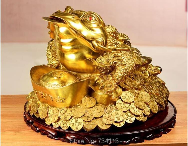Crapaud doré décoration chanceuse ouvert crapaud à trois pattes magasin de crapaud à trois broches salon cadeau ouvert ornements de crapaud en or chanceux prier santé