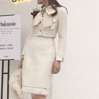 2018 Autumn Winter High Quality Runway Office Lady 2 Pieces Set Bow Pocket Top Straight Skirt Thick Chic Twin Set Tracksuit