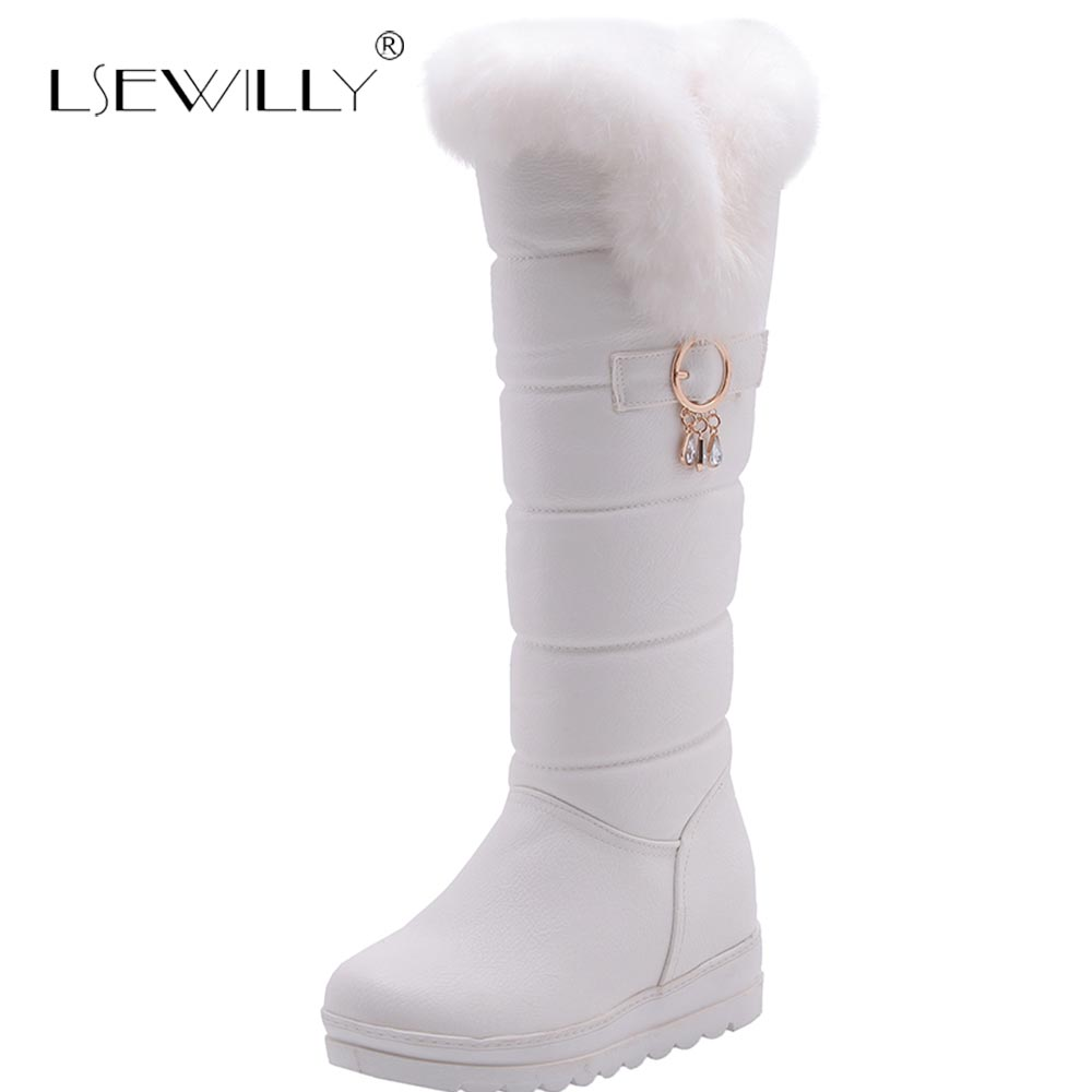 Lsewilly Knee High Boots Red Winter Shoes Warm Women Snow Boots Height Increasing Ladies Wedges Boots Plush Plus Size 42 E249