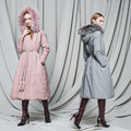 Long Fringed Ladies Long Section of Women 's Hair Long Down Jacket Over-the-knee Down Parks Coat Outwear OverCoat Y-W1675