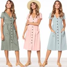 Casual Vintage Sundress Women Summer Dress 2019 Boho Sexy Dress Midi Button Pockets Solid Plus Size Beach Dress Female Pink Blue plus size brief slash pockets blue dress