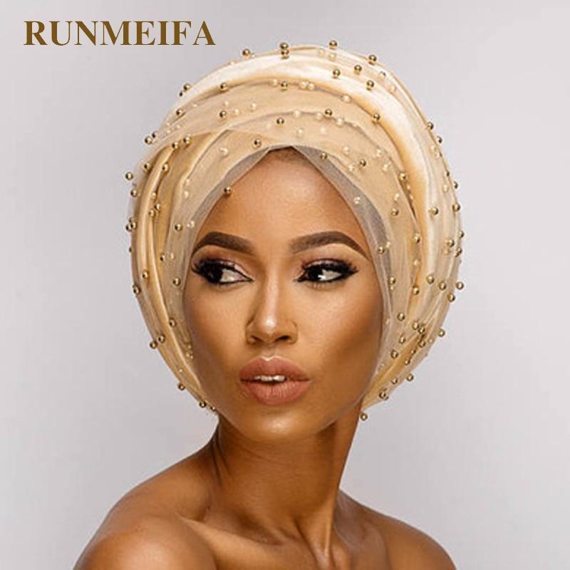 2018 New design Muslim   Skullies   &   Beanies   Mesh&velvet scarf cap for women luxury brand pearl head scarf African wrap hat