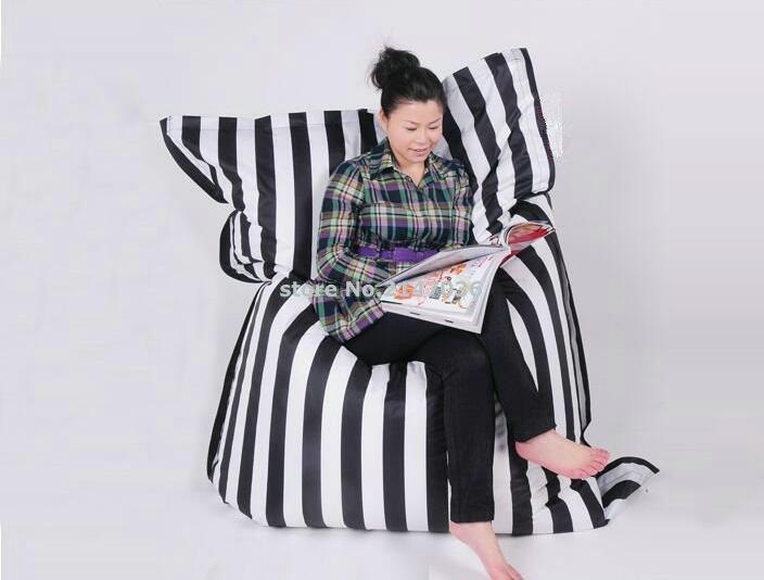 Cotton fabric Black strip fashion bean bag READING chair living room beanbag sofa cushion large anywhere