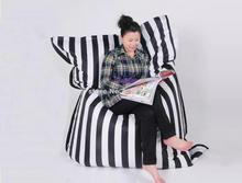 Cotton fabric Black strip fashion bean bag READING chair, living room beanbag sofa cushion, large anywhere bean sac 56 x 72 inch