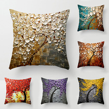 45x45cm Retro stereo oil tree flower pillow linen christmas decorations sequin living room Sofa Bed Car cushion cover