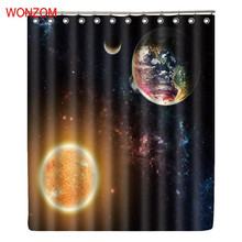 WONZOM Sun And Earth Waterproof Shower Curtain Nebula Bathroom Decor Star Decoration Cortina De Bano 2017 New Bath Gift