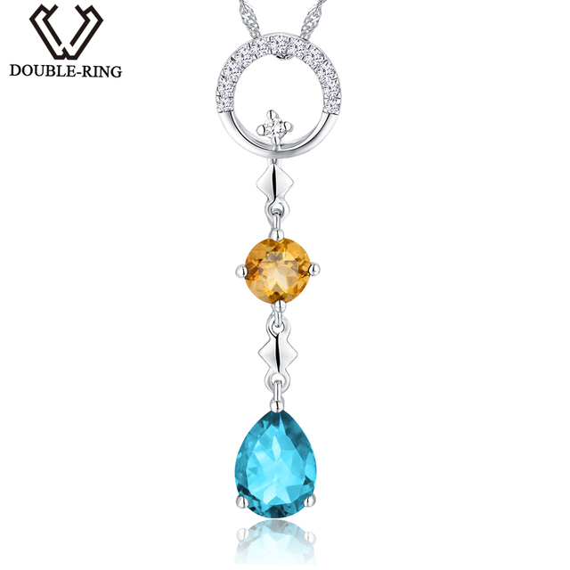 DOUBLE-R Ladies Gemstone Pendants 1.49ct Natural Stone Blue Topaz Pendants Necklaces 925 Silver Classic Lover Gift Fine Jewelry