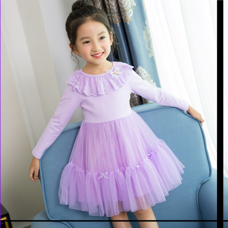 Girls Clothing with Shawl Dress Pink Purple Toddler Girl Dresses Long Sleeve Princess Costume for children's clothes kids sales girls europe the united states children princess long sleeved purple lace flower dress female costume kids clothing bow purple