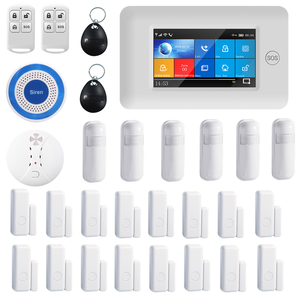 PGST 433MHz All Touch Color Screen Wireless WIFI GSM GPRS SOS RFID Card Smart Home Security Monitor Burglar Alarm System Kits