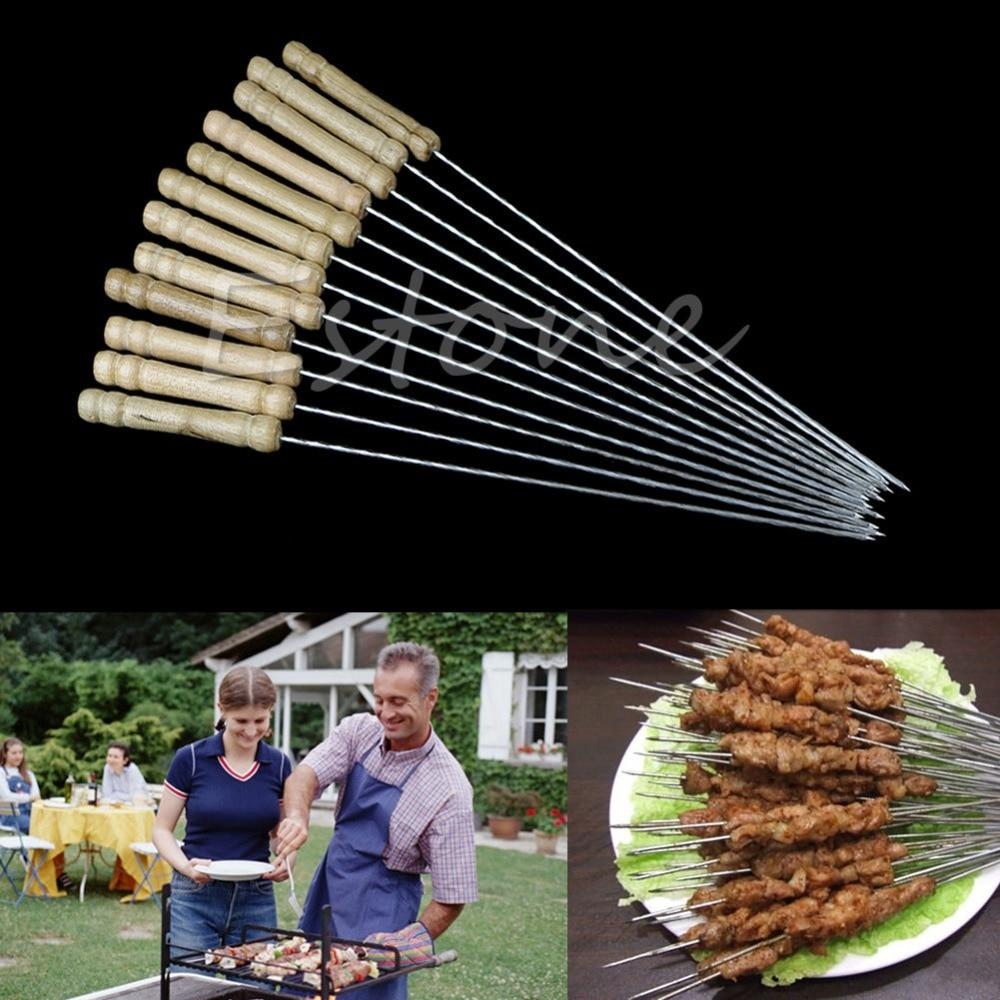 E74 1 Set New Hot Fashion BBQ Barbecue Skewer Grill Kabob Kebab Stick Flat Needle