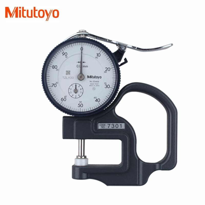 Original Mitutoyo 7301 Dial Thickness Gage 0 10mm 0 01 Shock Proof Tester Meter Flat Anvil