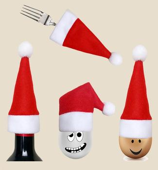 Christmas Santa Claus Hat Cap Knife Fork Holder Dinnerware Covers XMAS Party Tableware Dinner Table Decoration red