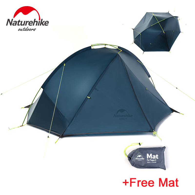 NatureHike Taga 1-2 Person Tent Camping Backpack Tent 20D Ultralight Fabric NH17T140-J high quality outdoor 2 person camping tent double layer aluminum rod ultralight tent with snow skirt oneroad windsnow 2 plus