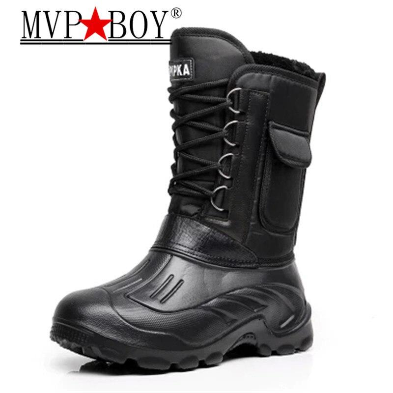 Mvp Boy Super Warm Men Winter Boots For Men Warm Waterproof Rain Boots Shoes Men's Mid-Calf  Snow Boots Plus Size 40-46