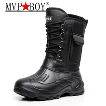 Mvp Boy Super Warm Men Winter Boots for Waterproof Rain Shoes Mens Mid-Calf  Snow Plus size 40-46