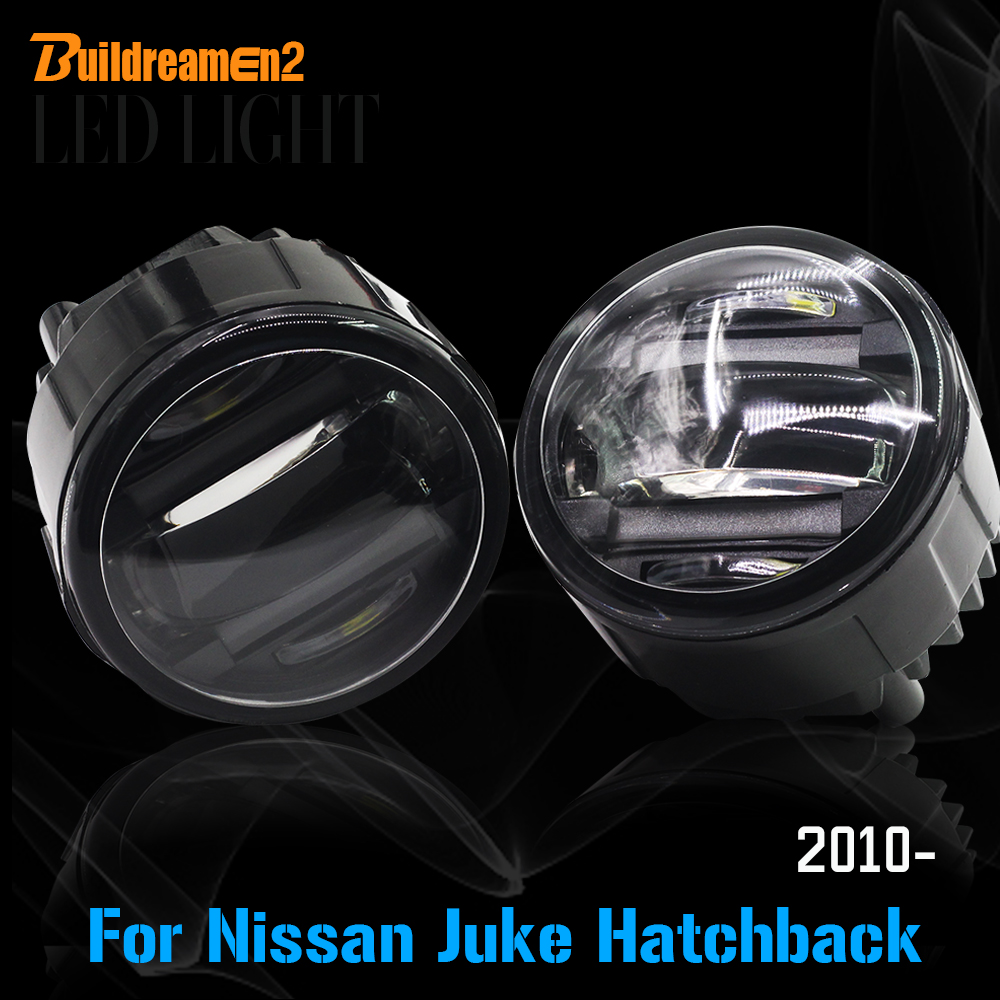 Buildreamen2 2 Pieces Car Styling LED Fog Light DRL Daytime Running Lamp For Nissan Juke Hatchback (F15) 2010 Up new arrival a pair 10w pure white 5630 3 smd led eagle eye lamp car back up daytime running fog light bulb 120lumen 18mm dc12v